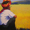 Than Kyaw Htay,Yellow Field and Me, 2010. Acrylic on canvas. 69 cm x 92 cm. SOLD