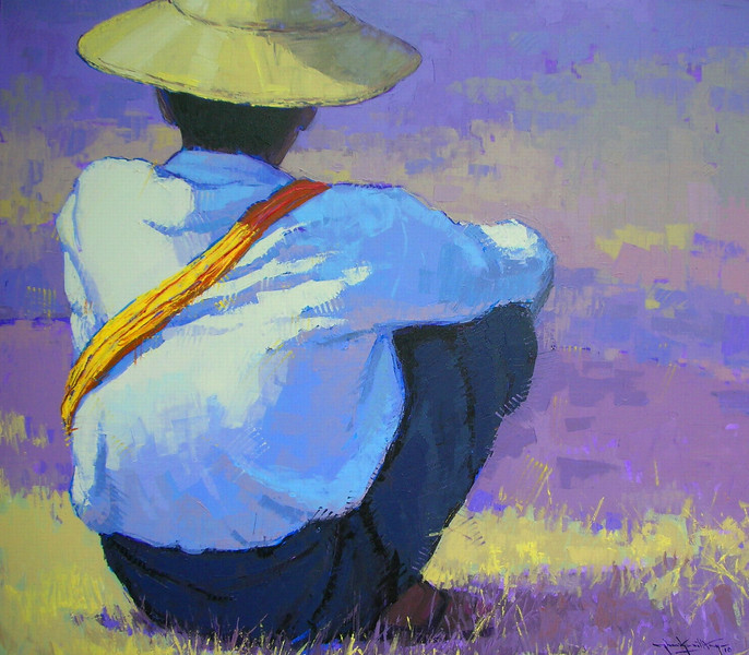 Than Kyaw Htay, Alone in deep thought. Acrylic on canvas, 92 cm x 105 cm. SOLD